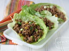 Spicy Beef Lettuce Wraps-great suggestion in the comments to sub some of the ground beef for lentils