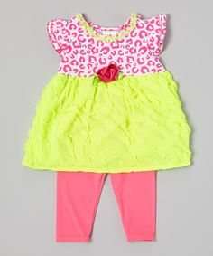Yellow Leopard Tunic & Pink Leggings - Infant, Toddler & Girls by Real Love #zulily #zulilyfinds