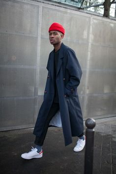 on the street, cool details, red hat, menswear style, white sneakers