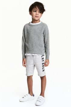 Sweatshorts with elasticized ribbing and drawstring at waist and sewn cuffs at hems with rolled raw edges. Toddler Boy Fashion, Little Boy Fashion, Tween Fashion, Fashion Children, Kids Winter Fashion, Autumn Fashion, Little Boy Haircuts, Kids Clothes Boys, Kind Mode