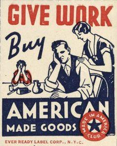1930'S ERA US UNION LABEL BUY AMERICAN GOODS PROPAGANDA CANVAS POSTER PRINT #Realism