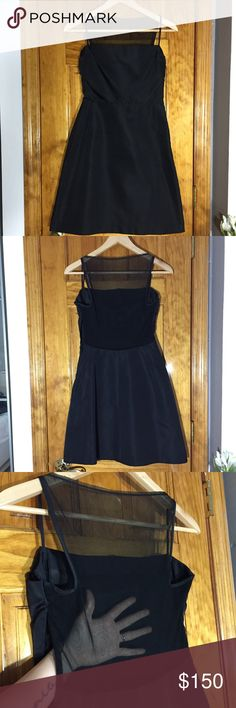 """Lida Baday Evening Black Mini Dress Open Mesh Back Style: Bust(armpit to armpit):17"""" Waist:15"""" Length:35.5"""" All measurements are taken with the item laid flat.  Excellent Used Condition Stretch: Minimal Material:Silk Color:Black 15% off on bundles. I ship same-day from pet/smoke-free home.Buy with confidence.I am a top seller with close to 800 5-star ratings and A LOT of love notes.Check them out!😊😎 Lida Baday Dresses Mini"""