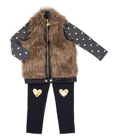 Look what I found on #zulily! Betsey Johnson Kids Brown Faux Fur Vest Set - Girls by Betsey Johnson Kids #zulilyfinds
