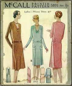 1920s Lades Dress Sewing Pattern - McCall 5891
