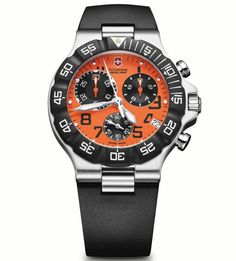 Victorinox Mens Orange Chronograph Dial Rubber Strap Summit XLT Watch 241340.  This Mens Victorinox watch has a stainless steel case which is set around an orange chronograph dial with luminescent hands and index, and date window. It features shock-resistant hardened mineral crystal, screw-in caseback, date calendar and unidirectional rotating bezel. A black rubber strap completes the look. Water resistant to 100M.