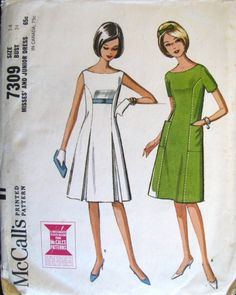 60s A-Line Dress with boat Neck