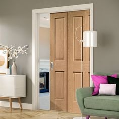 Twin Telescopic Pocket Victorian 4P Oak Veneer Door - No Raised Mould.    #doordesign  #telescopicdoors  #slidingdoors  #pocketdoors