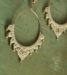 handmade boho earrings cream and gold large by yasminsjewelry