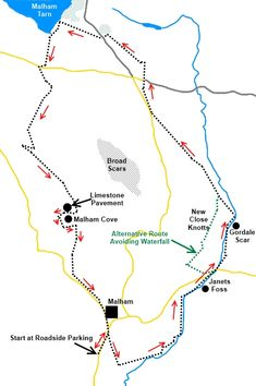 Yorkshire Dales walk Gordale Scar and Malham Cove - sketch Map