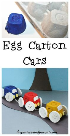 Simple Egg Carton Car craft for kids. Easy arts & crafts with recyclables
