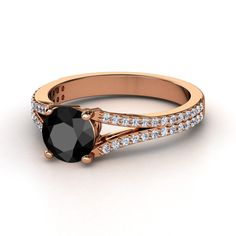 Round Black Diamond 14K Rose Gold Ring with Diamond & Diamond  | Jillian Ring | Gemvara