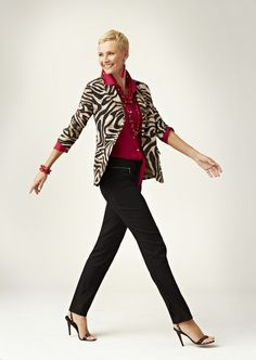 Top your So Slimming pants with a zebra blazer #chicos