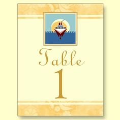 Cruise wedding or party theme golden cream table number cards. $1.58 #cruise #wedding #tablenumbers