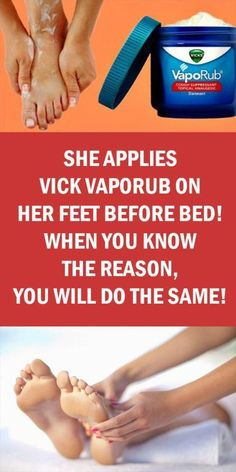 She Applies Vick Vaporub On Her Feet Before Bed; When You Know The Reason, You will Do The Same! - Organic Remedies Tips Medicine Book, Herbal Medicine, Natural Medicine, Cough Medicine, Natural Health Tips, Natural Healing, Healing Herbs, Vicks On Your Feet, Vicks Vaporub Uses