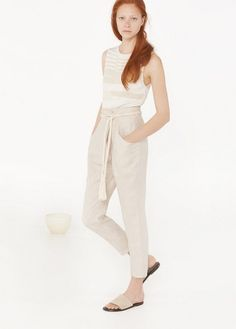 Premium - linen wrap trousers | MANGO
