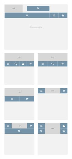 Based on desktop best practice e-commerce website headers, I've had a look at responsive navigation patterns and options.