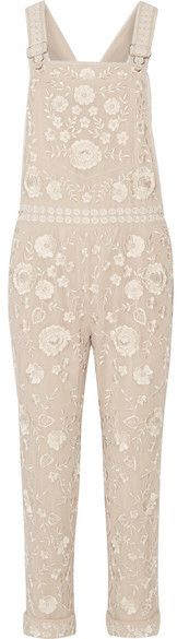 Needle & Thread - Embellished Georgette Overalls - Beige