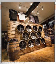 Jack Daniel's Experience Decor Courtesy of FixturesCloseUp and DDI Sept 2012 Retail Brewery Decor, Brewery Interior, Brewery Design, Retail Interior, Restaurant Design, Merchandising Displays, Store Displays, Jack Daniels Barrel, Design Commercial