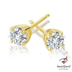 14K Yellow Gold Finish 1/2 Carat Round Diamond 4-Prong Stud Earrings #bacio2jewel #Stud