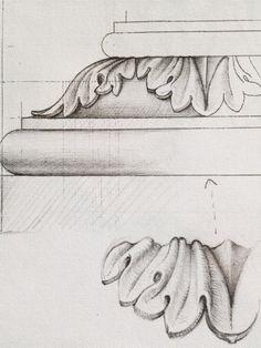 Drawing of acanthus-leaf moulding for base of pedestal.