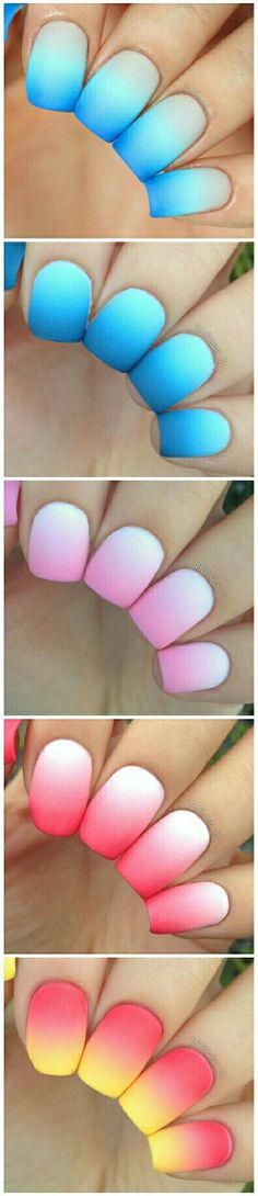 Beautiful nail art gradients: nude to bright blue; light blue to dark blue; white to pink; white to bright red; bright pink to yellow.