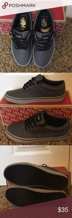 Gray low top vans Worn only a single time. With zero damages and no discoloration on the soles. Looks brand new and works with virtually any outfit styles. Vans Shoes Sneakers