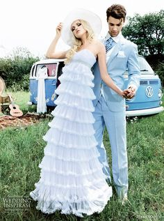 max chaoul couture wedding dresses 2012 - FUSIONNELLE gown and groom in light blue wedding suit http://www.weddinginspirasi.com/2012/02/20/max-chaoul-wedding-dress-2012-les-amoureux-bridal-collection/
