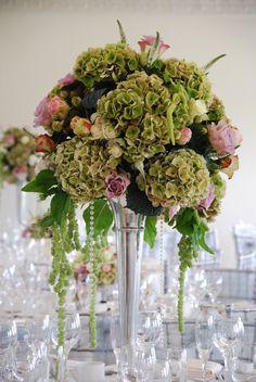 Hydrangeas, Amaranthus and vintage style roses, glamorous wedding table centre