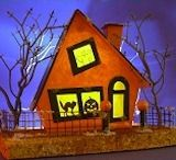 Building a Halloween haunted putz house Christmas Village Houses, Halloween Village, Putz Houses, Christmas Home, Haunted Houses, Christmas Glitter, Gingerbread Houses, Halloween Cards, Holidays Halloween
