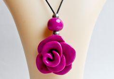 Bright Pink Large Rose Necklace Rose Necklace, Washer Necklace, Pink Things, Bright Pink, Necklaces, Jewelry, Fashion, Moda, Jewlery