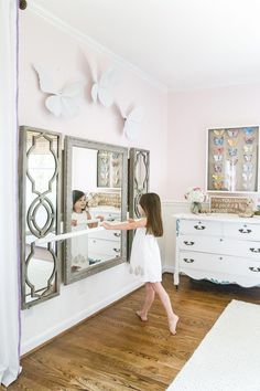 A little girl bedroom makeover with a butterfly theme full of thrifty makeovers, DIYable projects, and Anthropologie style knock-offs. - Little Girl Butterfly Bedroom Makeover Reveal - Bless'er House Ballet Room, Ballerina Room, Little Girl Bedrooms, Big Girl Rooms, Kid Bedrooms, Boy Rooms, Kids Rooms, Butterfly Bedroom, Butterfly House