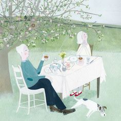 'Afternoon Tea Under The Blossoms' By Painter Mani Parkes. Blank Art Cards By Green Pebble. www.greenpebble.co.uk