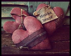 Primitive Hearts ♥ Sometimes hearts are broken ... and they must be mended with tender loving care!