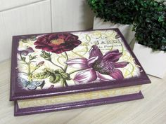 ---- Caja de MDF de bisutería con pintura y decoupage ---- R $ 53.29: Decoupage Vintage, Decoupage Wood, Decoupage Tutorial, Doll Tutorial, Fabric Painting, Painting On Wood, Tole Painting, Altered Cigar Boxes, Diy And Crafts