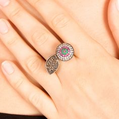 The Zerbap Aişa Ring with Zircon Emerald Ruby Stones by Rosestyle, $35.50