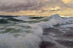 "vjeranski: "" Donald Demers Winter Seas Ocean Breakers Evening surf Shimmer and Flow Dusk on the Reef oil "" Ocean Art, Ocean Waves, Landscape Art, Landscape Paintings, Art Plage, Ocean Scenes, Sea And Ocean, Seascape Paintings, Beach Art"