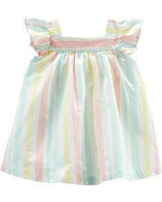 Baby Girl Striped Flutter Sleeve Dress from OshKosh B'gosh. Shop clothing & accessories from a trusted name in kids, toddlers, and baby clothes. Kids Outfits Girls, Girl Outfits, Romper Dress, Baby Girl Dresses, Baby Dress, Baby Girls, Toddler Girl, Flutter Sleeve, Striped Dress