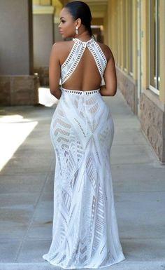 $48.99 Lace Nude Illusion Key-Hole Back Maxi Dress