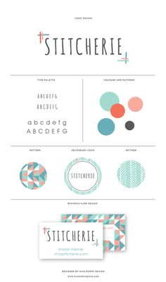 MISS POPPY DESIGN- Logo Design for Stitcherie || Branding | Brand Board | Modern | Graphics | Geometric