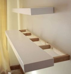 DIY instructions for how to build solid wood floating shelves of any le… Finally! DIY instructions for how to build solid wood floating shelves of any length, to stain or paint any desired color. Wood Floating Shelves, Glass Shelves, Wood Shelf, How To Make Floating Shelves, Building Floating Shelves, Book Shelves, Shelf Wall, White Shelves, Floating House