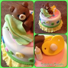 Neutral Baby Shower Cake with all handmade & edible toppers! The bear is chocolate fondant !