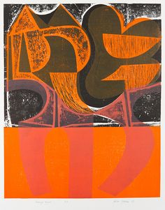 "Peter Green ""Orange Night"" woodcut and stencil print"