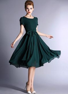 Dark Teal Chiffon Tea Dress with Sash
