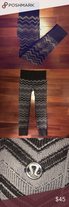 Lululemon chevron leggings The perfect leggings for fall! Thick material, perfect chevron pattern, neutral colors to go with everything. So cute for gym or everyday wear! Like new, barely worn. lululemon athletica Pants Leggings