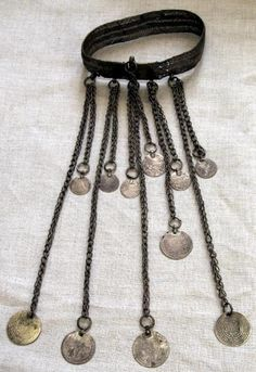Palestine | Silver choker (bughmeh) with chains ornamented with 19th century Ottoman coins