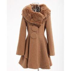 Plus Size Winter Fox Furry Collar Swing Lap Coat Camel