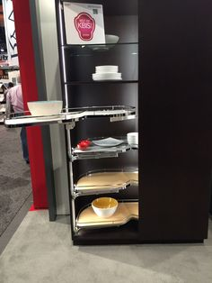 No more water corners in the kitchen: stack blind corner D units in a full pantry configuration- Hafele