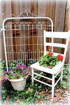 Use a vintage metal gate as a trellis for a flowering vine in your ...