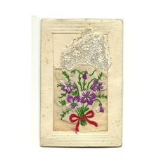 French Antique Embroidery Postcard Handmade by LaBelleEpoqueDeco