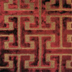Shang Dynasty Crimson Red Chinese Geometric Design Cut Velvet Upholstery Fabric by P Kaufmann - - Discount Fabrics Velvet Upholstery Fabric, Chair Fabric, Drapery Fabric, Discount Fabric Online, Buy Fabric Online, Sofa Makeover, Chinese Fabric, Dollar Tree Christmas, Gold Fabric